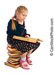 girlie with book - pensive girlie with book isolated on...
