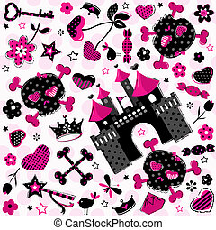 girlish aggressive cute black and red elements