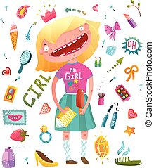 Girlish clip art collection with teenager girl and cosmetics