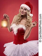 Girlish dress on the sexy santa