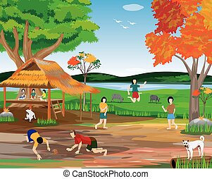 Girls and boys playing in the countryside vector design