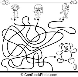 girls and teddy maze game color book - Black and White...