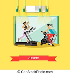 Girls are doing cardio exercises in the gym - Young girls...