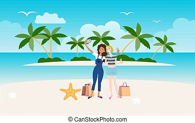 girls are enjoying vacation on the beach