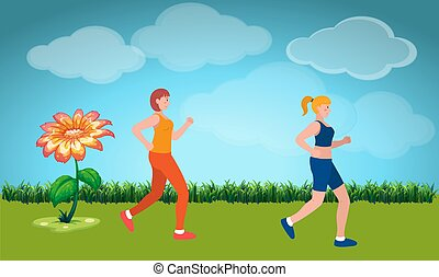 girls are running in the garden