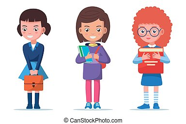 Girls are standing with a briefcase and books