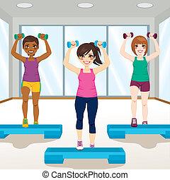 Girls At Gym - Three beautiful young girls doing aerobic ...