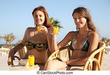 Girls at resort hotel