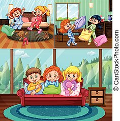 Girls at slumber party in the house illustration