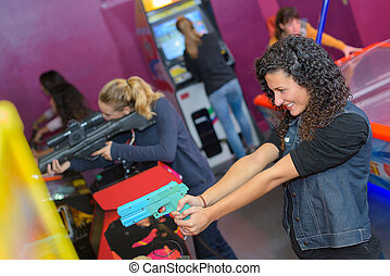 girls at the amusement arcade