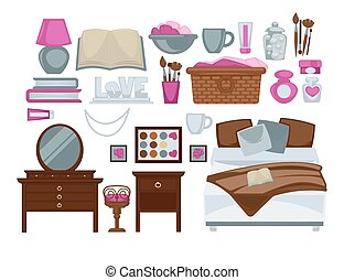 Girl's bedroom isolated decorative elements colorful vector poster