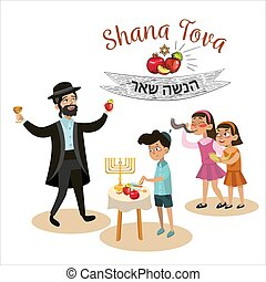 girls blowing Shofar horn, text means Jewish New Year, Jew man in holding apple and glass with wine on Rosh Hashanah holiday, Little boy in yarmulke eat apple with honey religion vector illustration