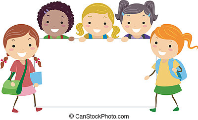 Girls Board - Illustration of Girls Posing with a Blank...