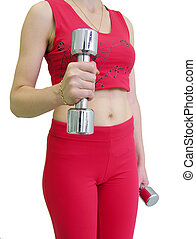 girl\\\'s body with dumbbell