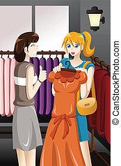 Girls buying dress