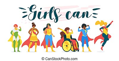 Girls can motivational, inspiring quote poster. Group of ...