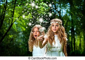 Girls casting magic spells in woods. - Fantasy portrait of...