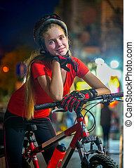 Girls children cycling on yellow bike lane. - Bikes ...