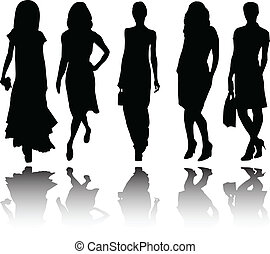 girls collection with reflection - illustration of girls...