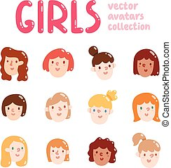 Girls colorful vector avatars collection