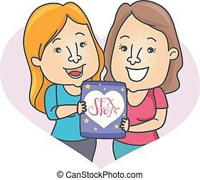 Girls Couple Toys Illustration