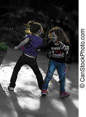 Girls Dancing and Pushing in Play - Friends laughing and...
