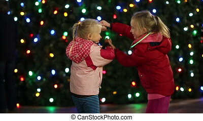 Girls Dancing at Christmas