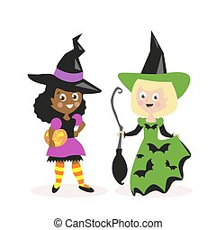 Girls dressed as a witch with a broom and pumpkin. Holiday Halloween. Small children. White and African-American. Flat character isolated on white background. Vector, illustration EPS10.