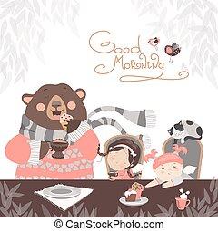 Girls drinking tea with a cute bear