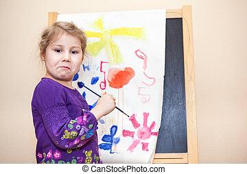 girl`s, emozioni, con, dipingendo ritratto, vicino, spazzola, e, vernici