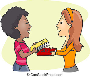 Girls Exchanging Books - Illustration of Girls Exchanging...