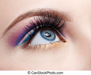 girl\'s eyezone make up - close-up portrait of girl\'s...