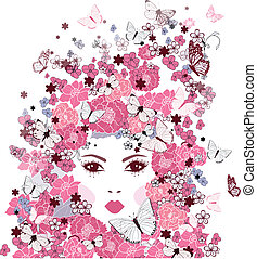 girl's face with flowers and butterflies