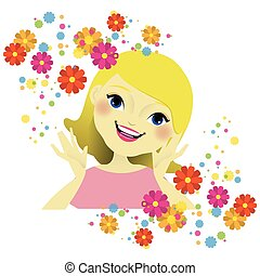 Girl's face with flowers