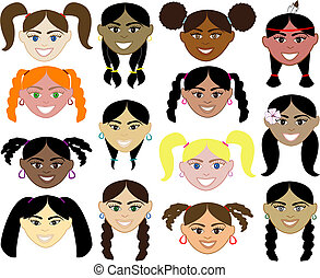 14 diverse girls faces. Also available in children, boys, girls, women and men faces. Vector