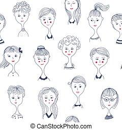 Girls' faces seamless pattern illustration