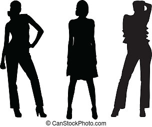 girls fashion silhouette - vector