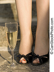champagne on stairs
