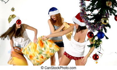 Girls fight with pillow - new year