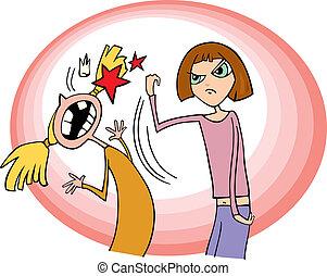 Cartoon illustration of fighting girls