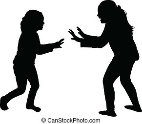 girls fighting silhouette vector