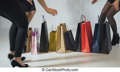 Girls Get Excited about Shopping