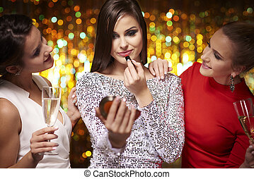 Girls getting ready for good party