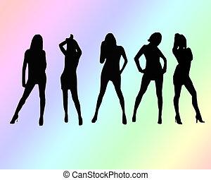 Girls Girls Girls - A group of five women silhouettes