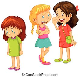 Girls gossipping other friend illustration