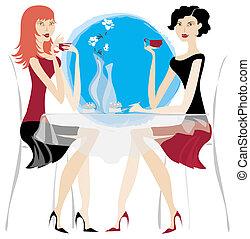 Two young ladies havig a mug of coffee at cafe bar