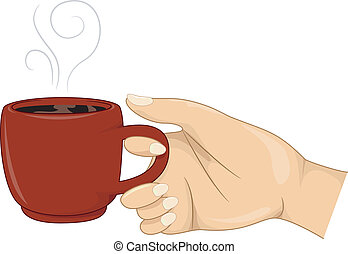 Girl's Hand Holding a Cup of Hot Coffee