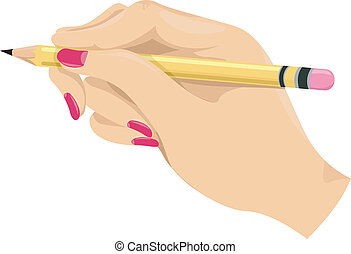 Girl's Hand Holding a Pencil
