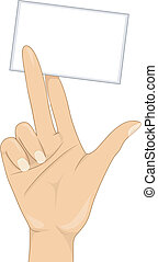 Girl's Hand with a Blank Business Card