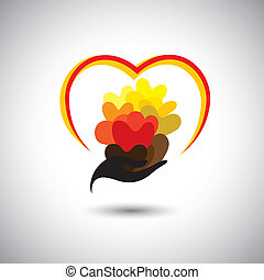 girls hand with many colorful heart shapes - concept vector grap